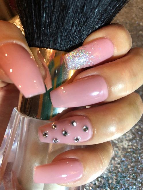 Nude Rhinestone Glitter Nail Set