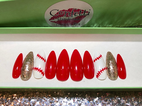 Red Baseball Nail Set