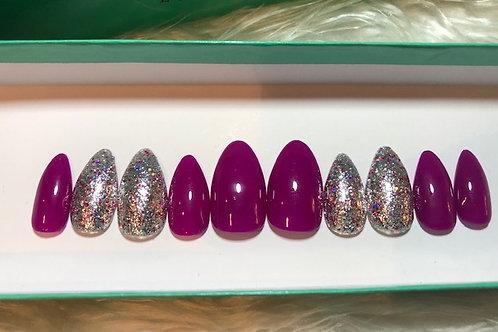 Violet & Glitter Nail Set