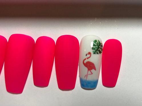 Hot Pink Flamingo Nail Set