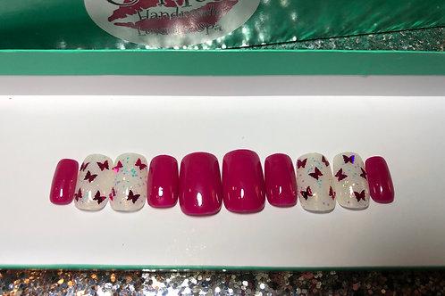 Fucshia Butterfly Nail Set