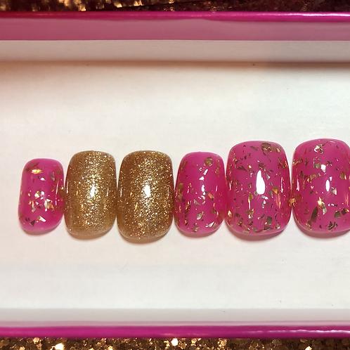 Pink Jelly & Gold Flakes Nail Set