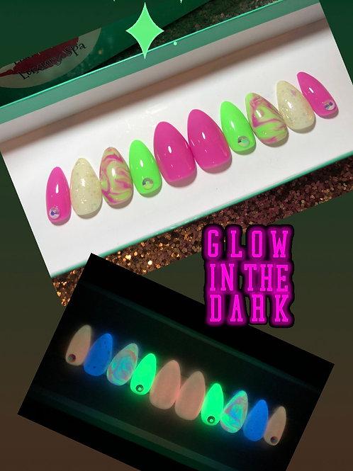 Pink & Green Glow in the Dark Nail Set
