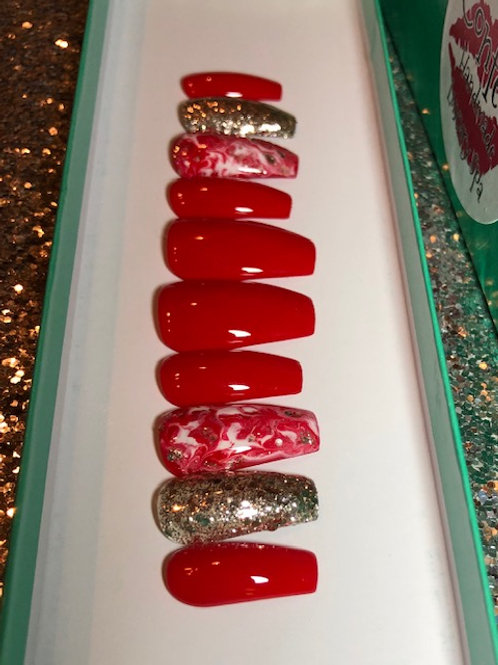 Red Marble Gold Glitter Nail Set