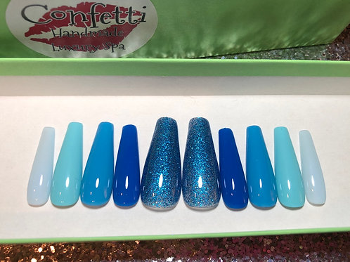 Gradient Blue Ombre Nail Set