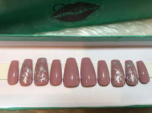 Nude & Silver Foil Nail Set