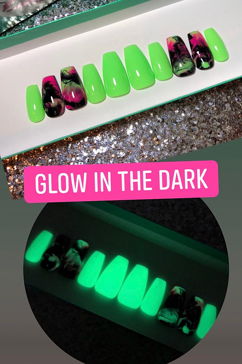 Glow in the Dark Marble Nail Set