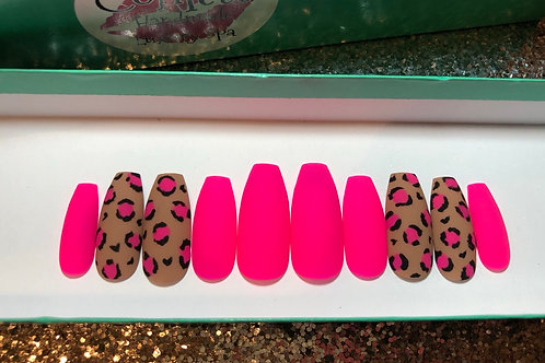 Hot Pink & Leopard Neon Nail Set