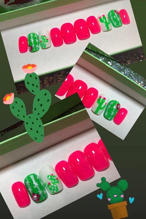 Pink Cactus Nail Set