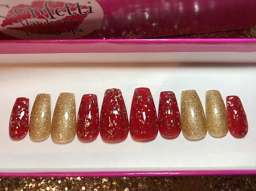 Red Jelly & Gold Flake Nail Set