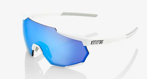 RACETRAP® Matte White HiPER® Blue Multilayer Mirror Lens + Clear Lens Included