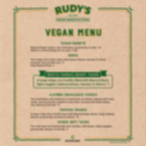 Rudy's Vegan Menu