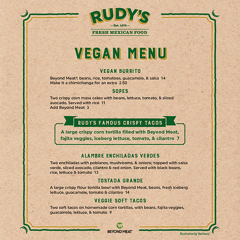 Rudy's Vegan Menu