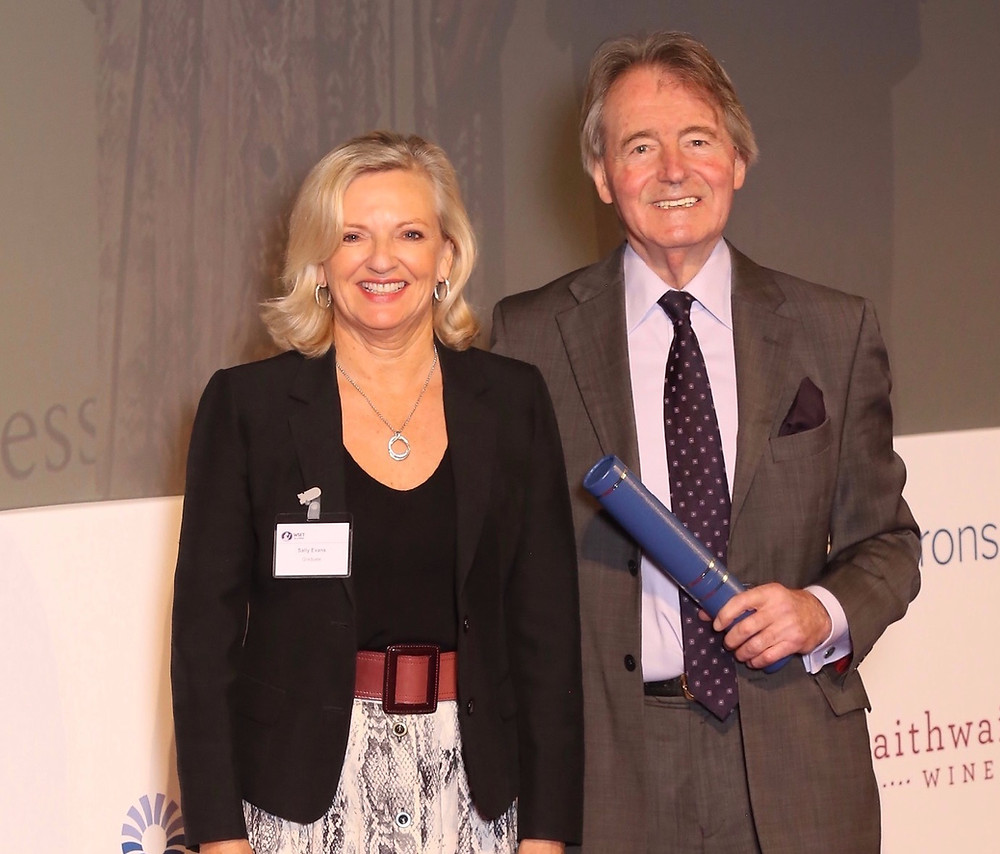 Steven Spurrier with owner of Chateau George 7, Sally Evans, at WSET diploma graduation