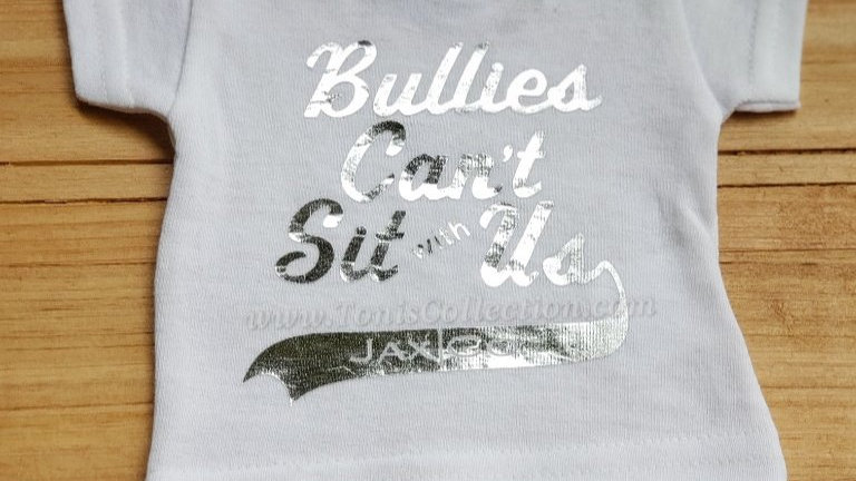 Bullies Can't Sit with Us (White Tee w/ Silver Graphic)