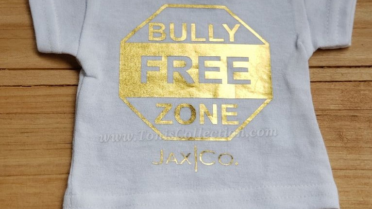 Bully Free Zone (White Tee w/ Gold Graphic)