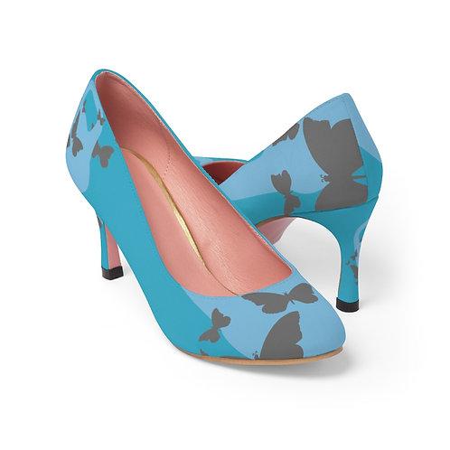 Kettlebell powder blue butterfly Women's High Heels - turquoise