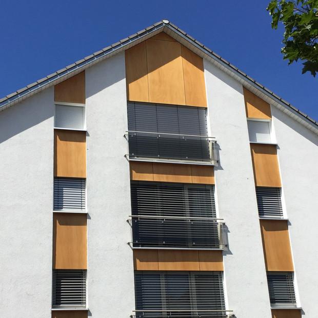 Mehrfamilienhaus Neubau Dachstuhl, Fassadenverkleidung