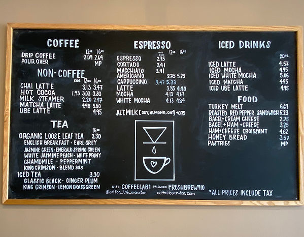 Evanston Coffee shop menu, coffeeshop menu