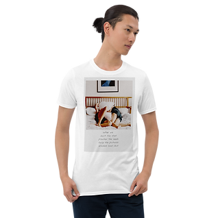 Graphic Printed T-Shirt | Laying in bed | Famous Quotes