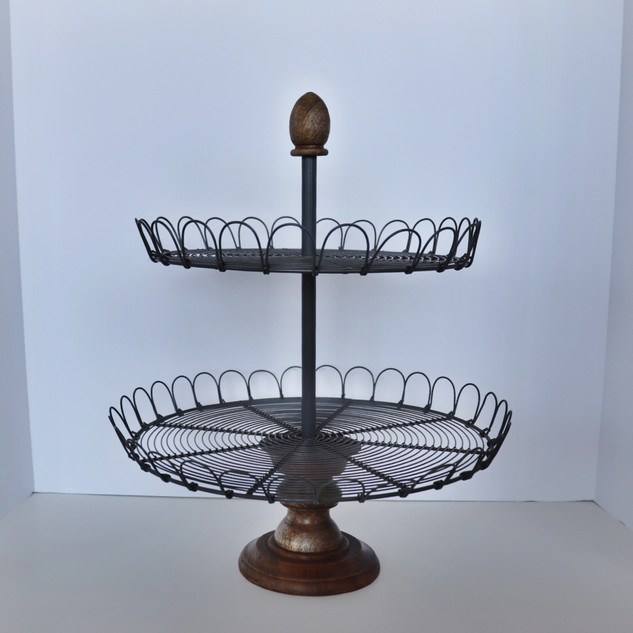 two tier scalloped metal & wood dessert stand
