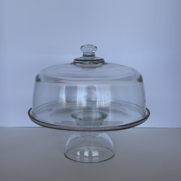 glass cake pedestal with dome