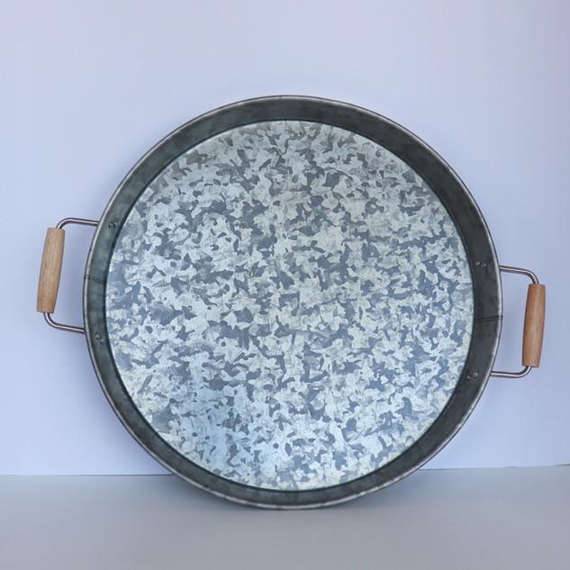 galvanized metal round tray