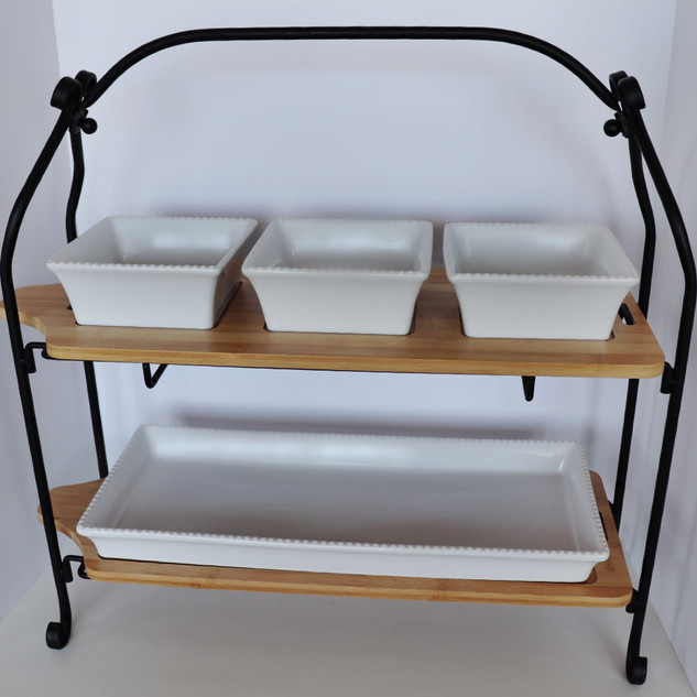 two tier wood & metal dessert tray (with optional porcelain tray set)