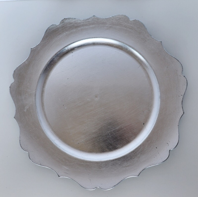 silver scalloped charger