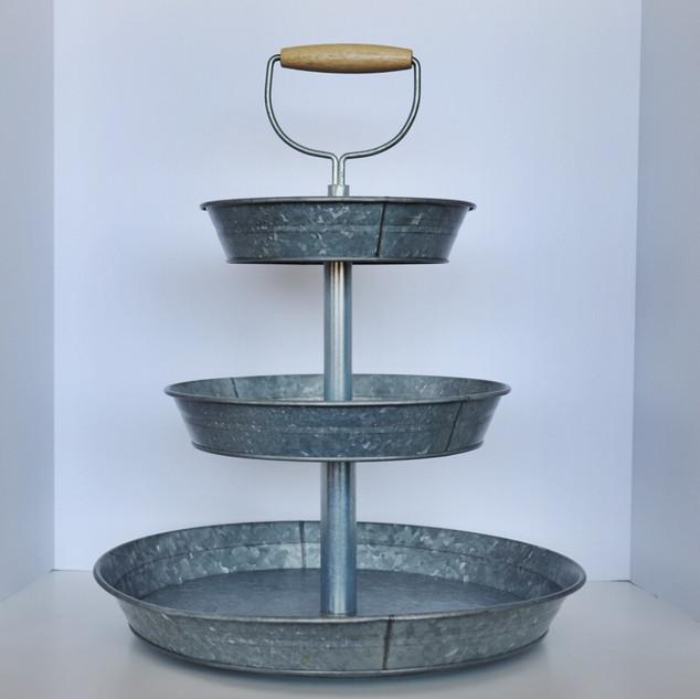 galvanized metal 3 tier dessert stand
