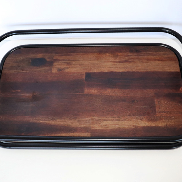 dark wood & metal dessert tray