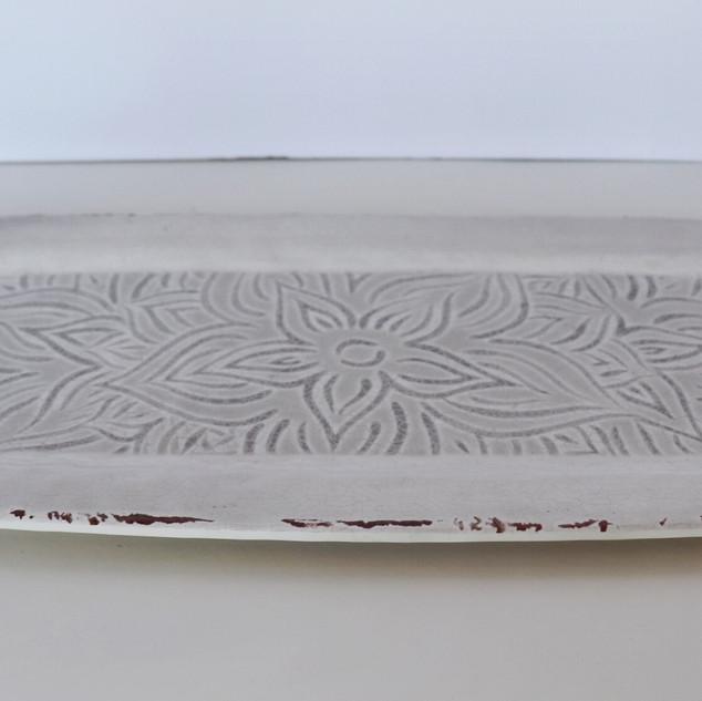 rectangular cream dessert tray