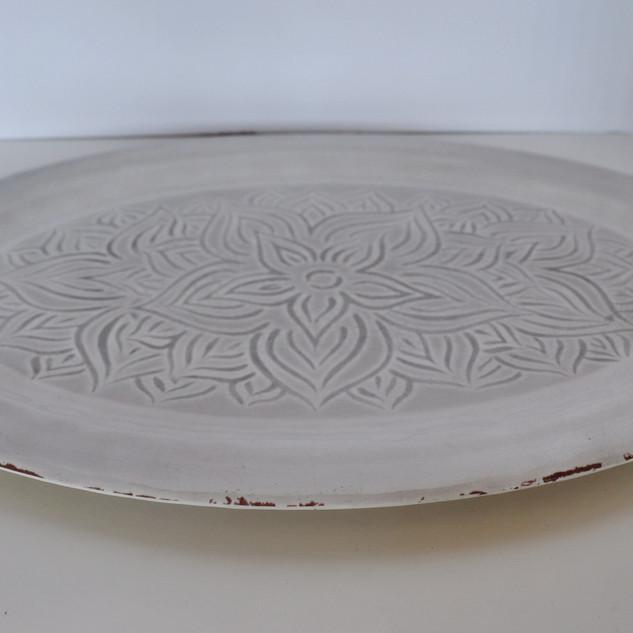 oval cream dessert tray