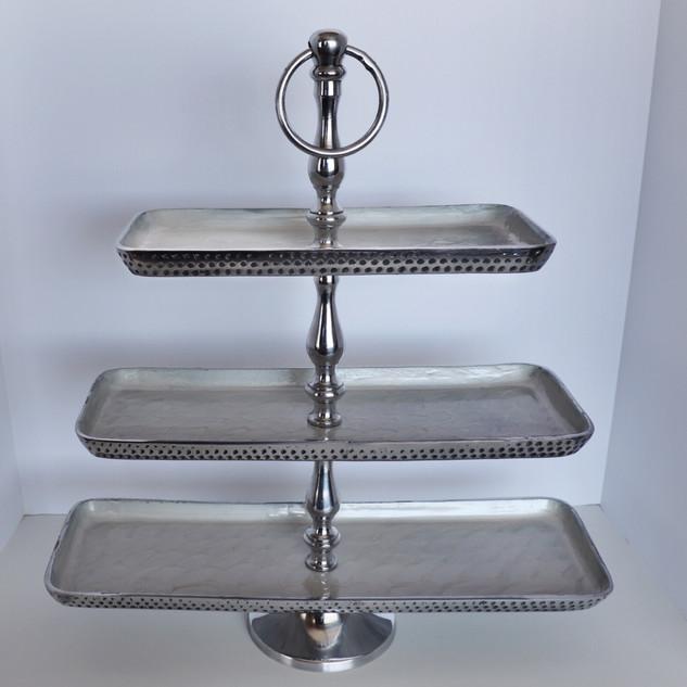 hammered silver three tier dessert stand