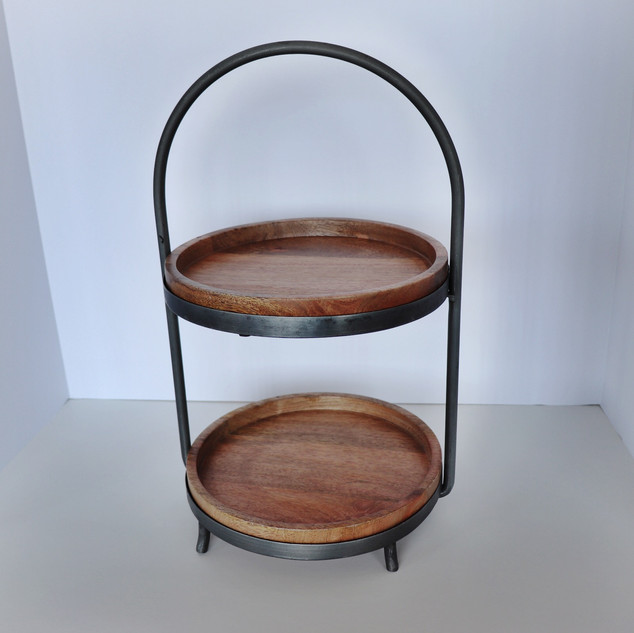 two tier wood & metal dessert stand