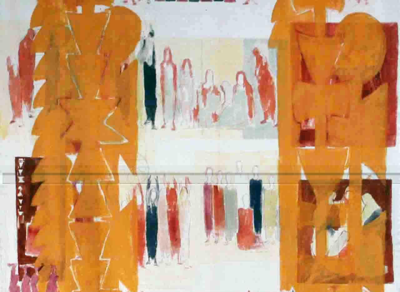 Aneh Mohamad Tatari Curtain Mix media on fabric 195 x 280 cm