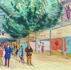 Sketch of downtown Beckett shopping mall