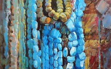Mohseni Kermanshahi Turquoise Acrylic and oil on canvas 40 x 70 cm 2011