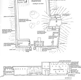 Plan and section elevation for restoration of the old village of Hatta