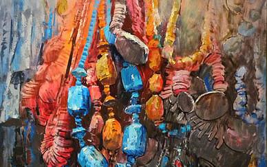 Mohseni Kermanshahi Ornamental objects Acrylic and oil on canvas 60 x 50 cm 2010