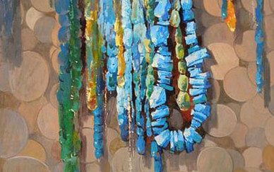 Mohseni Kermanshahi Turquoise Acrylic and oil on canvas 60 x 80 cm 2011