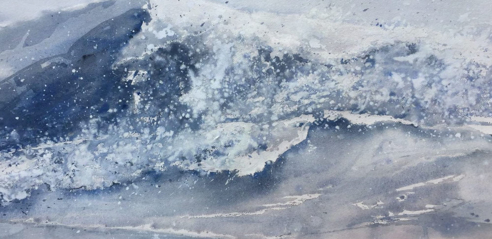 Raging Blue Ocean Watercolor 55.8 x 76.2 cm