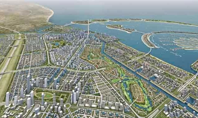 Perspective view of the Dubai Waterfront project with Palm Jebel Ali on the right hand side