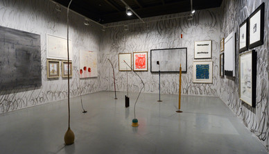 Installation view. The gallery's wall was inspired by Cy Twombly. Three artists (Fereydoun Ave, Nelda Gillam and Shaqayeq Arabi) were painting and doodling the gallery wall over the entire week of the installation
