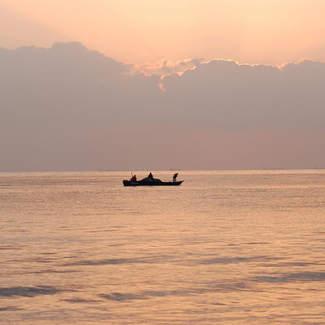 A fishing boat in the ocean