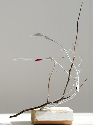 Wood, paint, wires, branches, plastic leaves 21 x 7 x 29 cm 2015