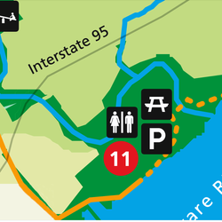 Map view of Pennypack park, with icons of amenities