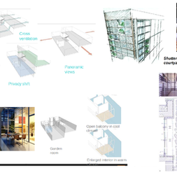 Clockwise from top left: Duplex Apartments, Sustainable Designs, Residential Designs