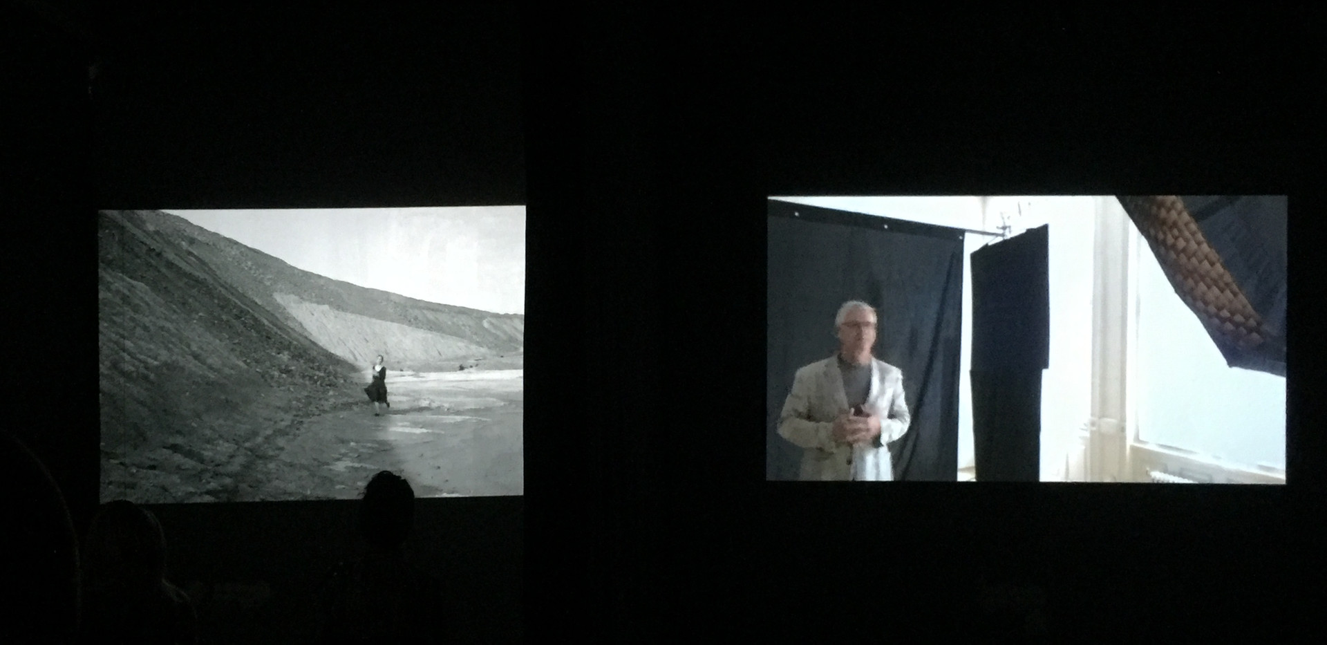 Left: Shirin Neshat, Roja, 2016 Right: Dariush Zandi, video of Image of the Self, 2017