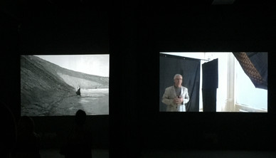 Left: Shirin Neshat, Roja, 2016 Right: Dariush Zandi, video of Image of the Self, 2017